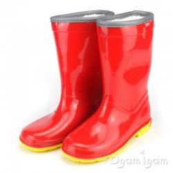 Toughees Boys / Girls Red Fleece Lined Wellington Boot