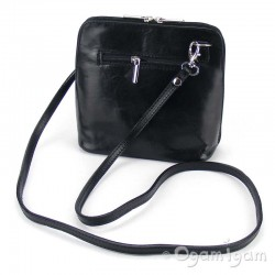 Vera Pelle Womens Black Cross Body Leather Bag