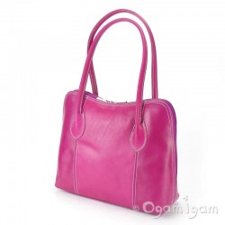 Vera Pelle Womens Pink Leather Hand Bag