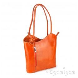 Vere Pelle Womens Orange Cross Strap Leather Bag