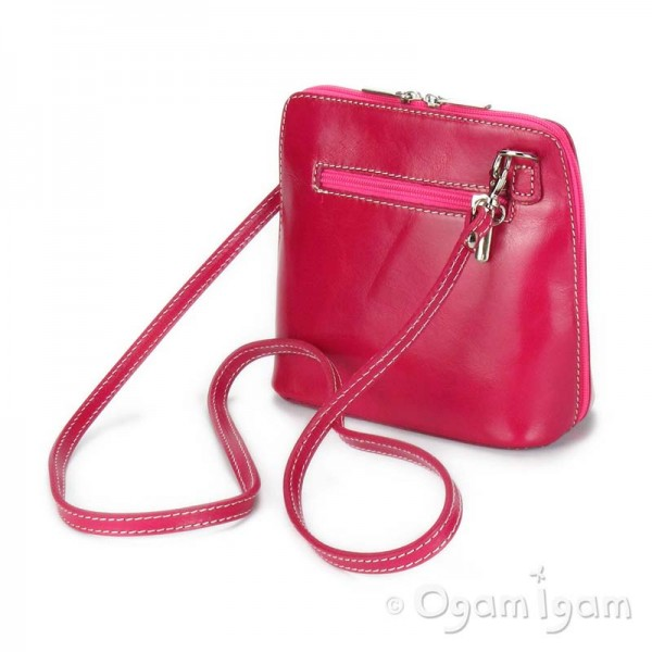 Vera Pelle Womens Pink Cross Body Leather Bag