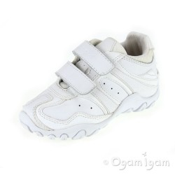 Geox Crush Boys Girls White School Trainer