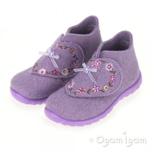Superfit Lilac Flowers Girls Slipper