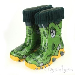 Toughees Green Crocodile Welly Boys Green Wellington Boot