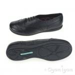 Hush Puppies Jiving JNR Leather Girls Black Leather School Shoe