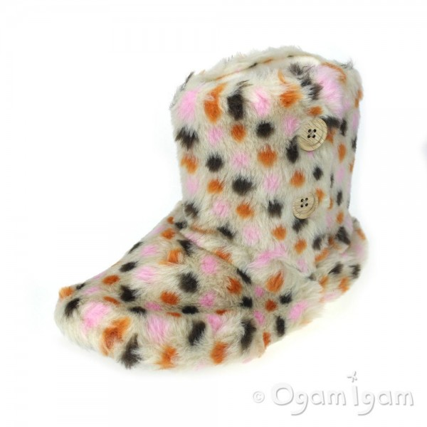 Coolers A252 Womens Pink Spots Boot Slipper