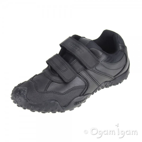 Geox Giant Boys Black School Shoe
