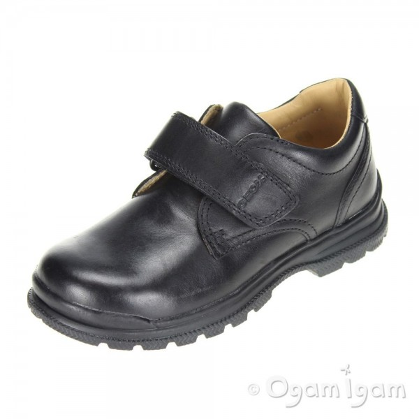 Geox William Boys Black School Shoe