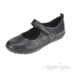 Geox Vega Girls Black School Shoe