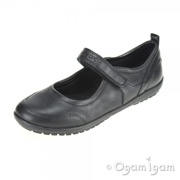 Geox Vega Girls Black School Shoe