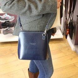 Vera Pelle Womens Navy Blue Cross Body Leather Bag
