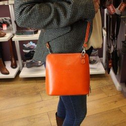 Vera Pelle Womens Orange Cross Body Leather Bag