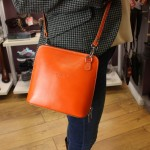 Vera Pelle Womens Orange Cross Body Leather Bag