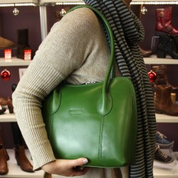 Vera Pelle Womens Green Leather Hand Bag