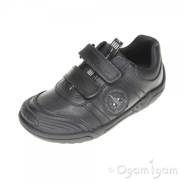 Clarks Wing Smart Infant Boys Black School Shoe