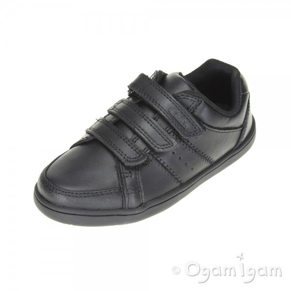 Clarks Holbay Go Inf Boys Black School Shoe