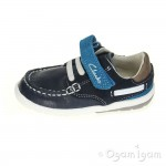 Clarks SoftlyFlag Fst Boys Navy Combi Shoe
