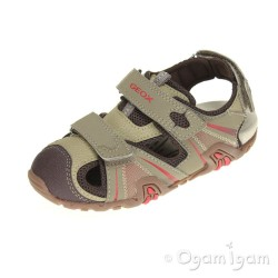 Geox Kraze Boys Light Brown Red Sandal