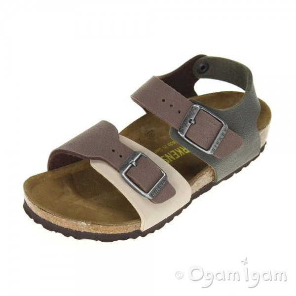Birkenstock New York Kinder Boys Brown Combi Sandal