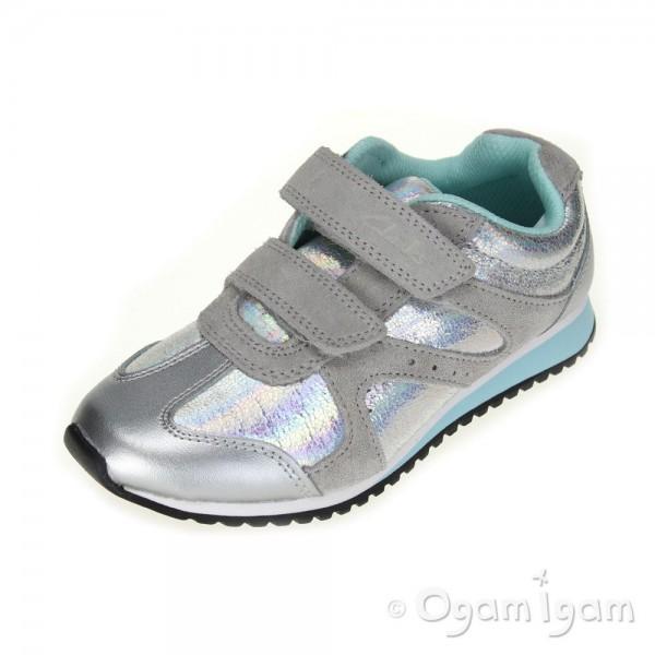 Clarks SuperGleam Inf Girls Silver Shoe