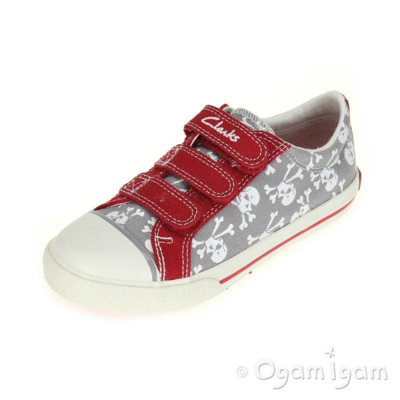 c904add1fc0c Clarks Halcy Sky Boys Red Grey Canvas Shoe