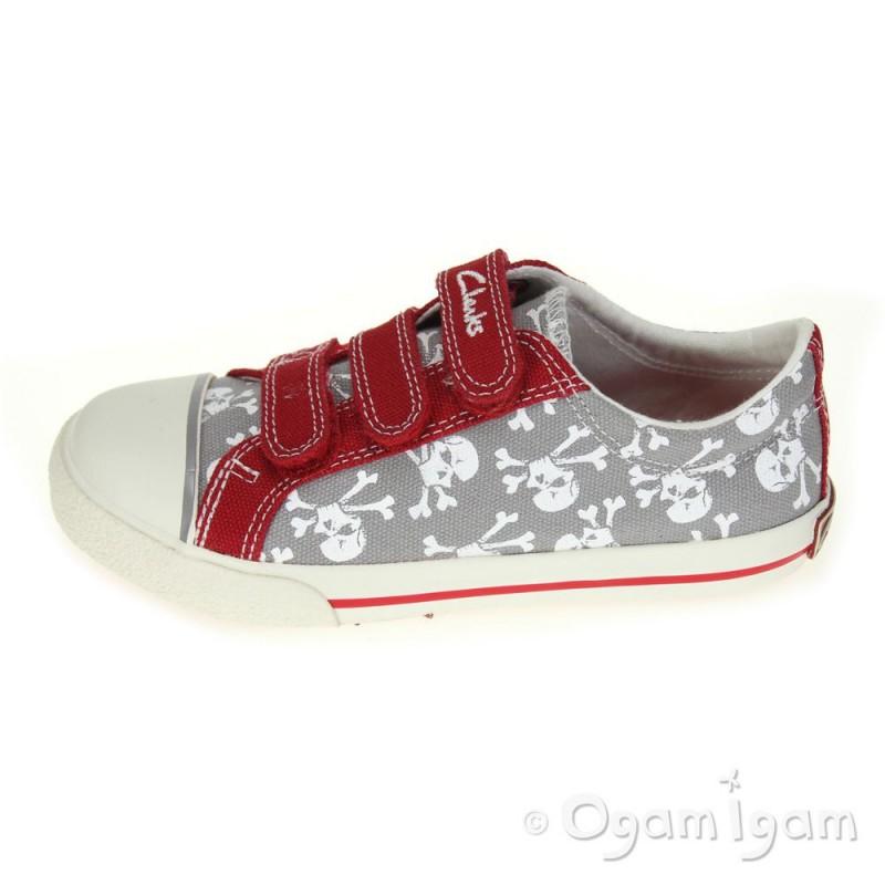 5946620c4179 ... Clarks Halcy Sky Boys Red Grey Canvas Shoe ...