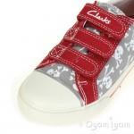 Clarks Halcy Sky Boys Red Grey Canvas Shoe