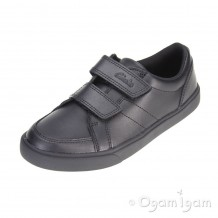Clarks Loxton Way Jnr Boys Black School Shoe