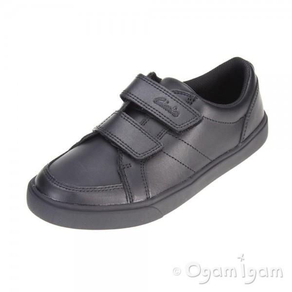 Clarks Loxton Way Jnr Boys Black School Shoe