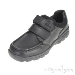 Clarks Zayden Go Jnr Boys Black School Shoe