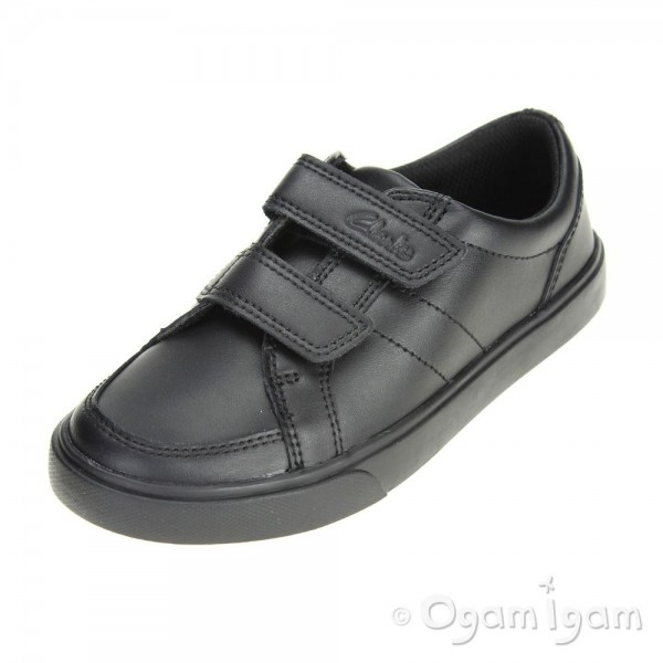 Clarks Loxton Way Inf Boys Black School Shoe