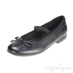 Geox Plie Girls Black School Shoe