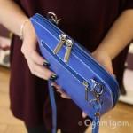 Vera Pelle Womens Square Blue Cross Body Leather Bag