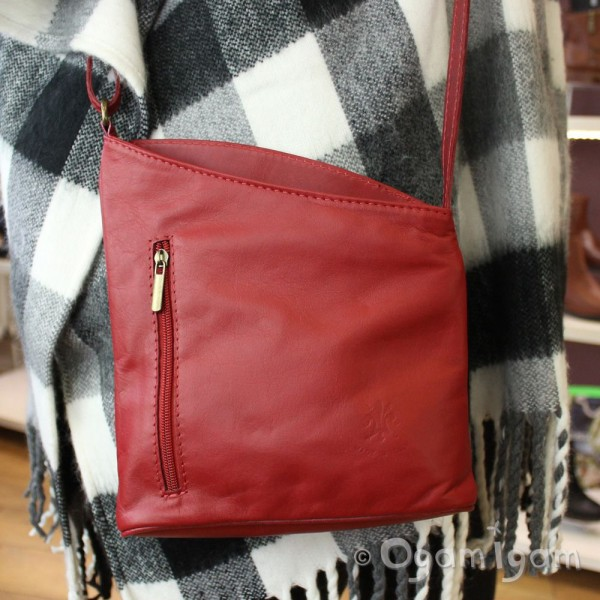 Vera Pelle Womens Red Leather Angled Cross Body Bag