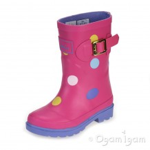 Joules Neon Candy Spot Girls Pink Wellington Boot