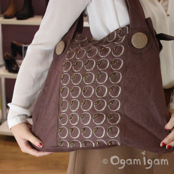 Gorjus Womens Brown Patterned Fabric Bag