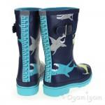 Joules Multi Shark Boys Navy Wellington Boot
