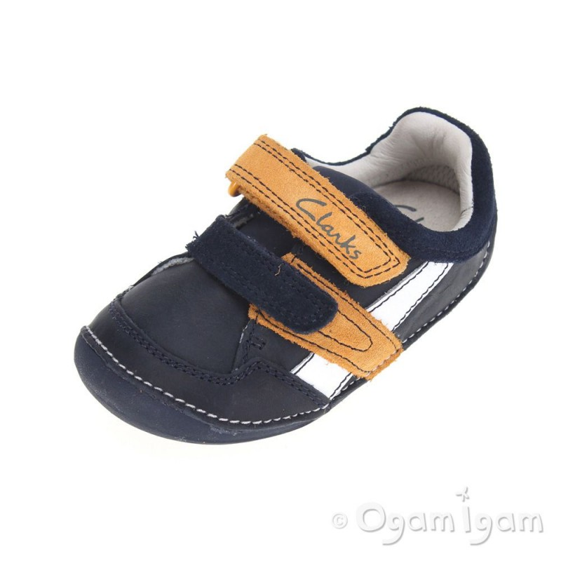 89c12be07b1 Clarks Tiny Zakk Boys Navy Combi Shoe