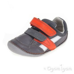 Clarks Tiny Zakk Boys Grey Combi Shoe