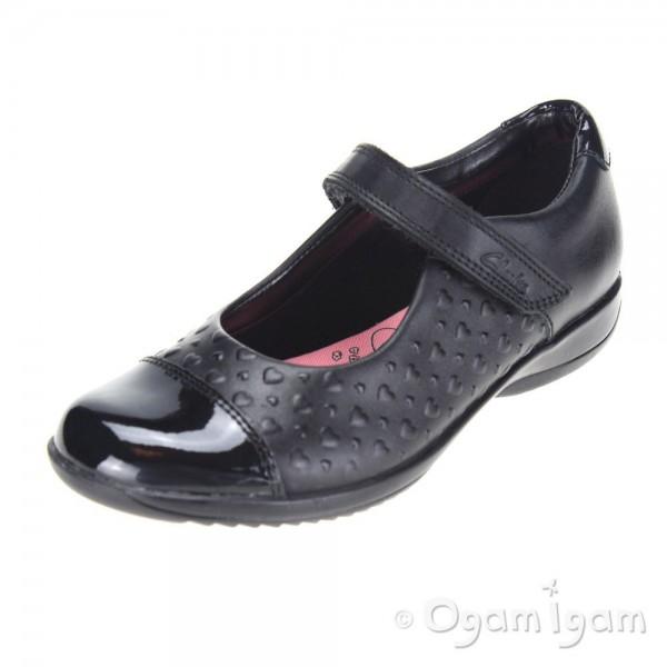 Clarks FriendPlay Inf Girls Black School Shoe