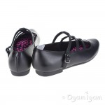 Clarks QuartzFlash Girls Black School Shoe