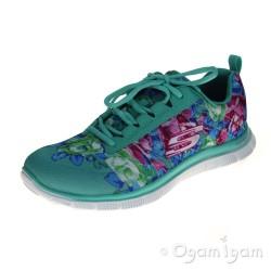 Skechers Flex Appeal Wildflowers Womens Aqua/Multi Trainer