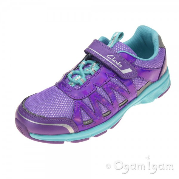 Clarks Pass Solar Jnr Girls Purple Combi Trainer
