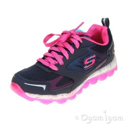Skechers Skech Air Jumabout Girls Navy/Hot Pink Trainer