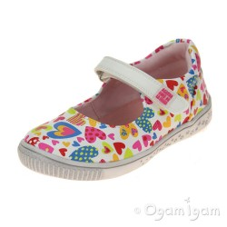 Agatha Ruiz de la Prada 162944 Girls White Hearts Shoe