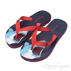 Joules Navy Shark Print Flip Flop Boys Navy Sandal