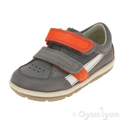 Clarks Softly Zakk Fst Boys Grey Orange Combi Shoe