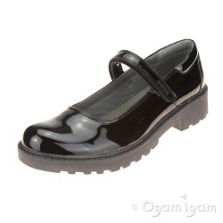 Geox Casey Mary Jane Girls Black Patent School Shoe