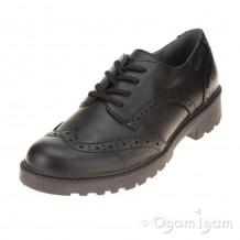 Geox Casey Brogue Girls Black School Shoe