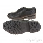 Geox Casey Brogue Girls Black School Shoe
